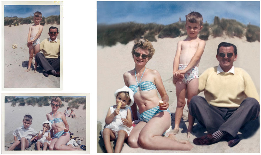 This is a composite image of the two pictures taken by Mum and Dad of us all on the beach. I think Dad was a better photographer because Mum didn't notice she had cut off Dad's other leg.  The scale, colour balance and alignment of the dunes had to be adjusted on the final image as well as removed additional people who weren't really required